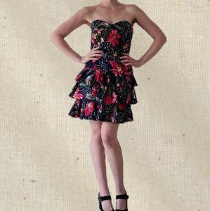 Vintage 1980s floral flamenco ruffle party dress